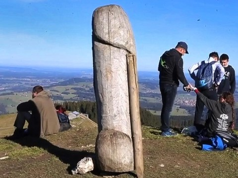 Massive penis statue pulled off mountain by cows is re-erected