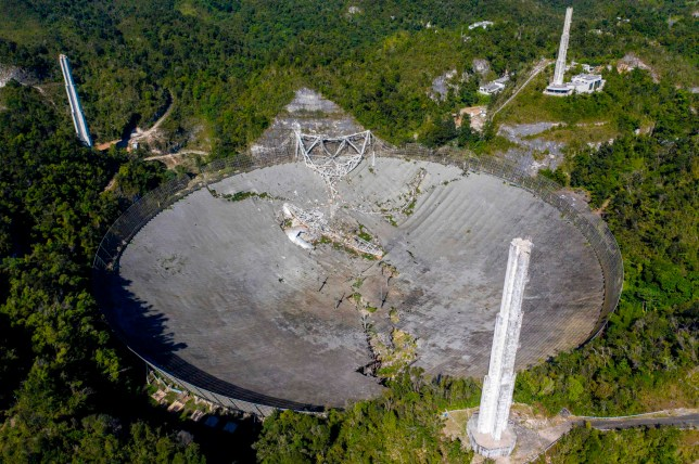 The Arecibo Observatory is seen collapsed after one of the main cables holding the structure broke in Arecibo, Puerto Rico, on December 1, 2020. - The radio telescope in Puerto Rico, which once starred in a James Bond film, collapsed Tuesday when its 900-ton receiver platform fell 450 feet (140 meters) and smashed onto the radio dish below. (Photo by Ricardo ARDUENGO / AFP) (Photo by RICARDO ARDUENGO/AFP via Getty Images)