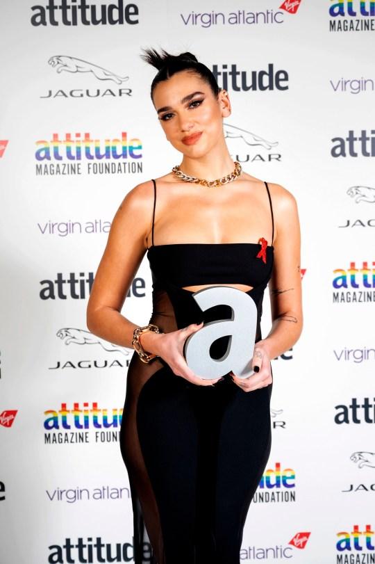 Dua Lipa at the Attitude awards