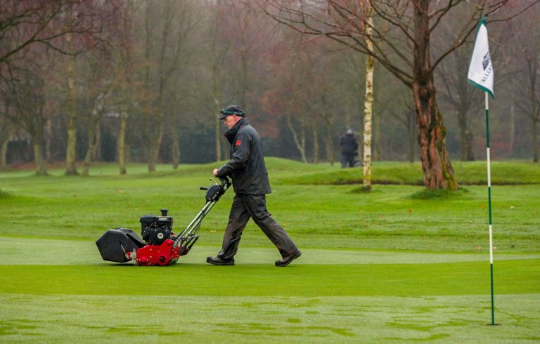 A greenkeeper at Allerton Manor Golf Club in Liverpool tends the course the first morning after the national coronavirus lockdown was lifted. PA Photo. Picture date: Wednesday December 2, 2020. Photo credit should read: Peter Byrne/PA Wire