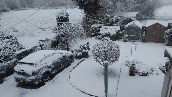 snow in Halstead, Essex