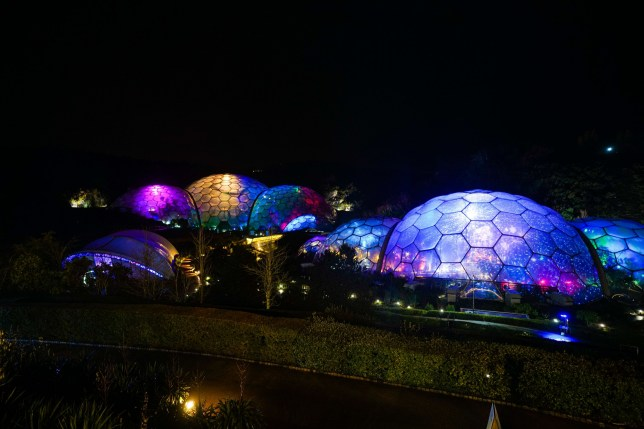 ST AUSTELL, ENGLAND - DECEMBER 03: An exterior view of the Christmas lights installation in the biomes at the Eden Project on December 3, 2020 in St Austell, England. (Photo by Hugh Hastings/Getty Images)