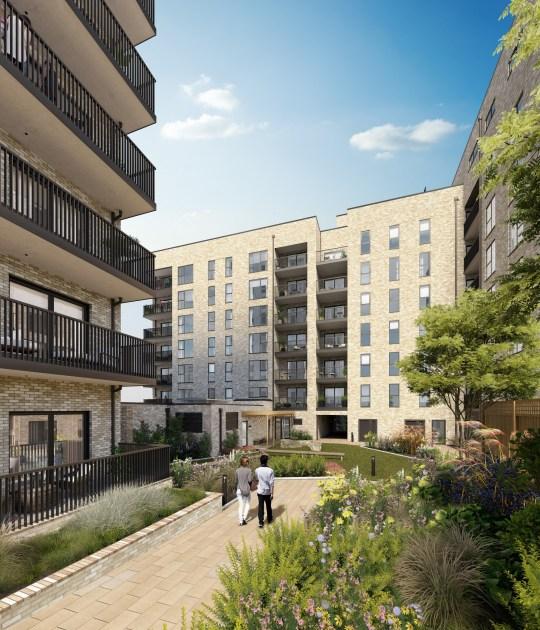 Harrow One - Hill - exterior with courtyard CGI