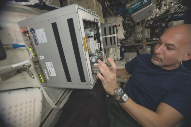Luca Parmitano conducting a previous BioRock experiment ahead of the UK-led biomining-in-space experiment, which has the potential to provide resources for future missions to the moon and Mars