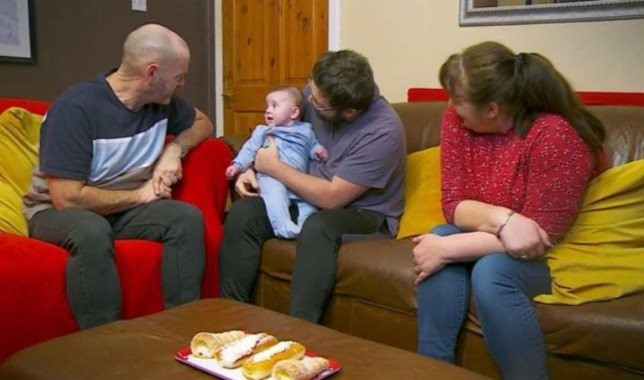 Gogglebox's Shaun Malone with baby Louis Malone, alongside parents Julie and Tom Malone