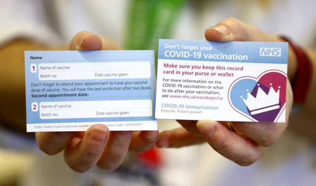 EMBARGOED TO 1800 SUNDAY DECEMBER 6 A card a Croydon University Hospital in Croydon which will be given to patients following a vaccination for COVID-19. PA Photo. Picture date: Saturday December 5, 2020. See PA story HEALTH Coronavirus. Photo credit should read: Gareth Fuller/PA Wire