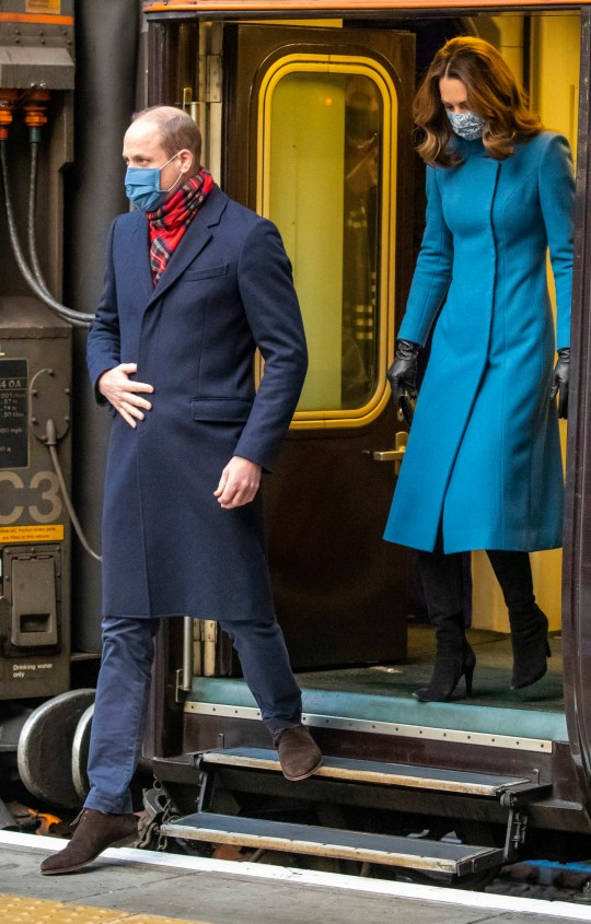 The Duke and Duchess of Cambridge arrive by train at Edinburgh Waverley Station on the second day of a three-day tour across the country. PA Photo. Picture date: Monday December 7, 2020. During the tour William and Kate will visit communities, outstanding individuals and key workers to thank them for their efforts during the coronavirus pandemic. See PA story ROYAL Train. Photo credit should read: Andy Barr/PA Wire