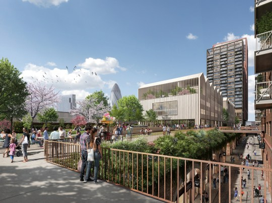 Mayor gives green light to New York style high line park in Shoreditch View of high line and street-level retail