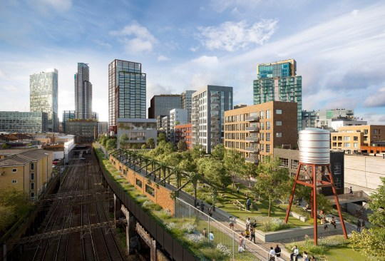 Mayor gives green light to New York style high line park in Shoreditch An aerial view of High Line and Park from the Brick Lane end