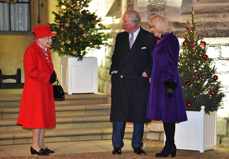 Queen Elizabeth II  talks with Prince Charles, Prince of Wales  and Britain's Camilla, Duchess of Cornwall