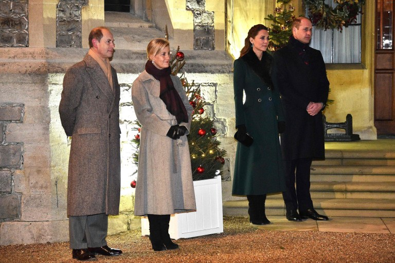 Prince Edward, Earl of Wessex (L),  Sophie, Countess of Wessex (2L), Kate, Duchess of Cambridge (2R) and Prince William, Duke of Cambridge