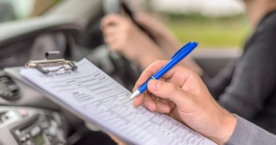 A person taking a driving test