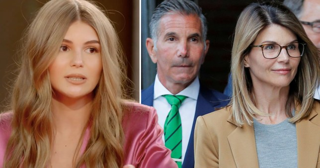 Lori Loughlin's daughter Olivia Jade, alongside a picture of her parents