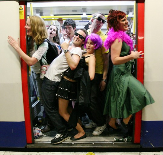 Revellers drinking, Last Round On The Underground Party, Circle Line, London Tube 31/05/2008 . (Photo by: PYMCA/Universal Images Group via Getty Images)