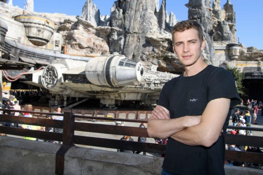 ANAHEIM, CA - OCTOBER 29: In this handout photo provided by Disneyland Resort, actor Hayden Christensen poses in front of the Millennium Falcon: Smugglers Run in Star Wars: Galaxys Edge while vacationing at Disneyland Park on October 29, 2019 in Anaheim, California. (Photo by Richard Harbaugh/Disneyland Resort via Getty Images)