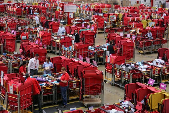 A general view of the Royal Mail's South Midlands Mail Centre, Northampton.