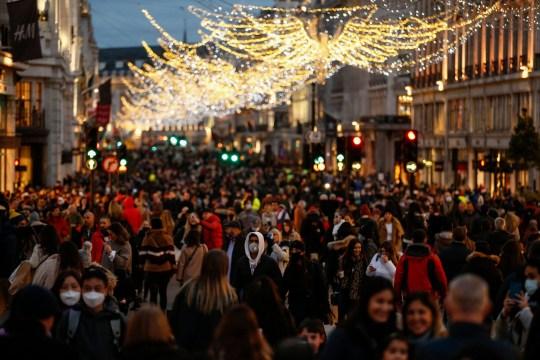 People shop on Regent Street on December 11, 2020 in London, England.