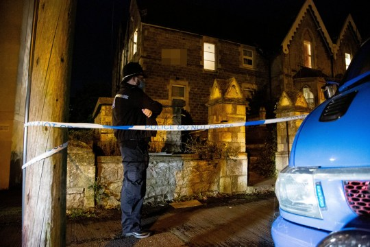 Police at the scene in Weston-super-Mare, Somerset