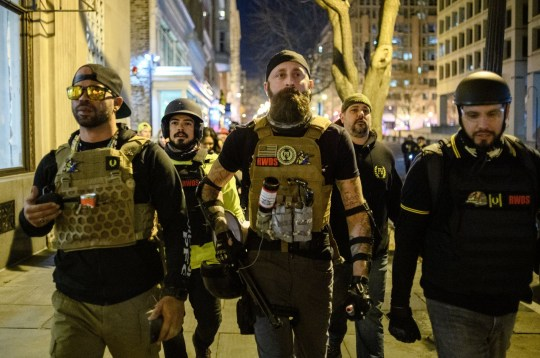 Mandatory Credit: Photo by Amy Harris/REX (11539859ek) Enrique Tarrio, left, and other 'Proud Boys' gather in the streets following the 'Million MAGA March' on December 12, 2020 in Washington, DC. Demonstrators Participate In 'Million MAGA March' In DC Following Supreme Court Decision To Reject Texas Lawsuit Challenging Biden's Victory, Washington, USA - 12 Dec 2020