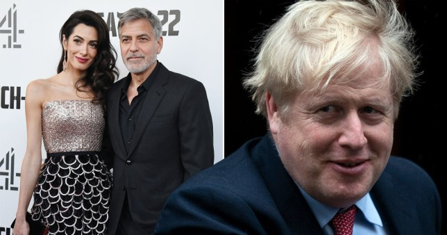 George Clooney with Amal Clooney and Boris Johnson