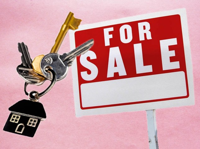 Keys and a for sale sign