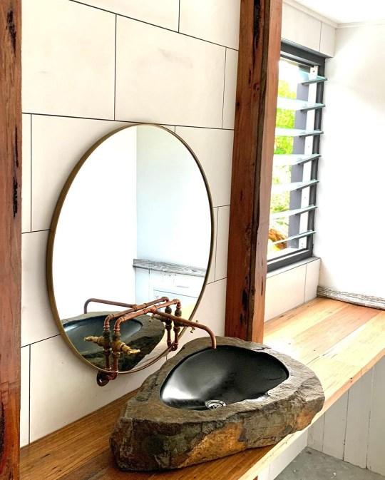 Bathroom mirror and sink