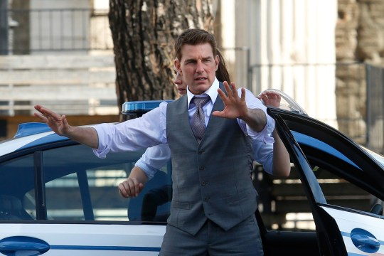 Actor Tom Cruise on the set of the film Mission Impossible 7.