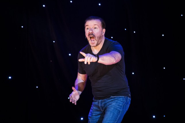 Mandatory Credit: Photo by Ibl/REX (8887425a) Ricky Gervais Ricky Gervais performing 'Humanity' world tour, The Globe, Stockholm, Sweden - 01 Jul 2017