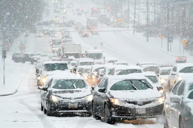 Snowy traffic jam in Towson, Maryland