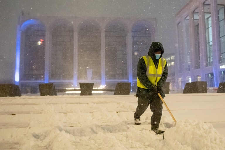 Snow being cleared from Lincoln Center steps