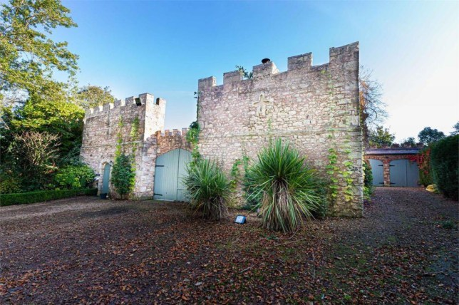battlement wall of castle coach house in durham
