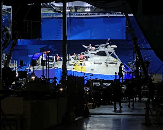 (Picture: Jon Landau/James Cameron) The last set for 2020 filming ?The Matador (a 50? forward command boat) on a 16-ton, 360 degree motion-control base. Three Technocranes and a Russian Arm mounted on top of a Mercedes-Benz. Just another day on the set of the Avatar sequels.
