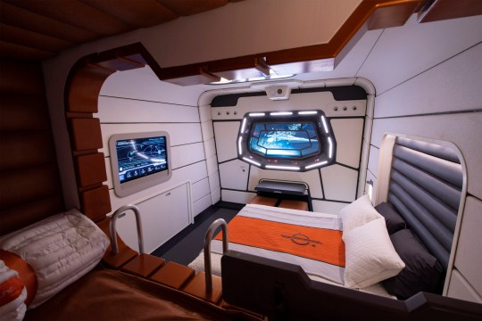 In a galaxy far, far away, progress continues on Star Wars: Galactic Starcruiser at Walt Disney World Resort in Lake Buena Vista, Fla., where guests will live aboard a starship for a two-day, two-night immersive adventure. This mock-up of a starship cabin shows the well-appointed accommodations guests will experience during their stay. (David Roark, photographer)