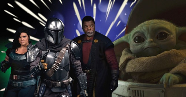 Gina Carano, Pedro Pascal, Carl Weathers and Baby Yoda in The Mandalorian