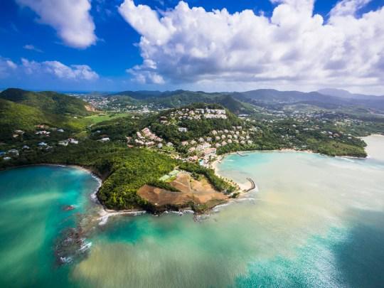 Luftaufnahme Ostk?ste, Choc Bay , Calabash Cove Resort , St. Lucia, Inseln ?ber dem Winde, Kleine Antillen, St. Lucia, Nordamerika