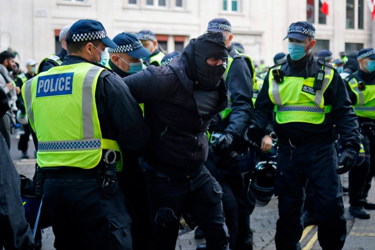 Anti-lockdown protestors conflict with police in central London