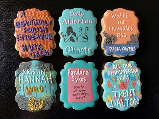 Lauren Farrell's decorated biscuits which look like book covers.