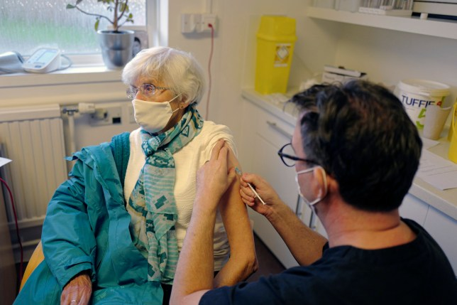 Margaret Holland receives her Covid-19 vaccination in Falmouth