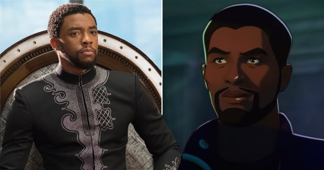 Chadwick Boseman in Black Panther and in What If...?