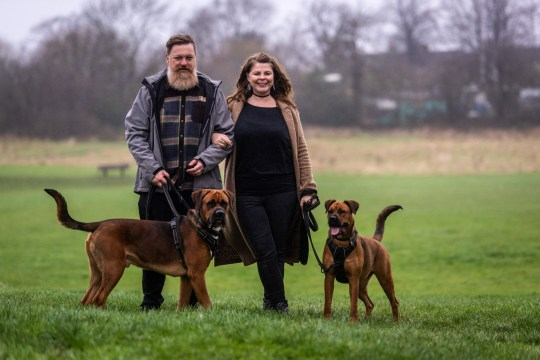 Mark and Sarah Broomhead, with their dogs Luther and Jessie