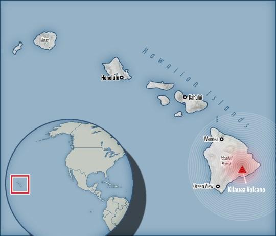 Carte de l'endroit où le volcan d'Hawaï est entré en éruption