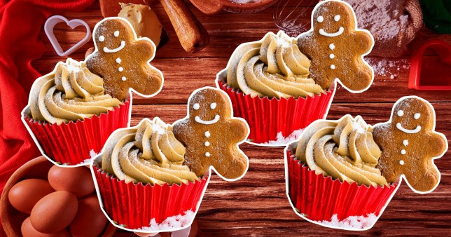 gingerbread cupcakes on a colourful background