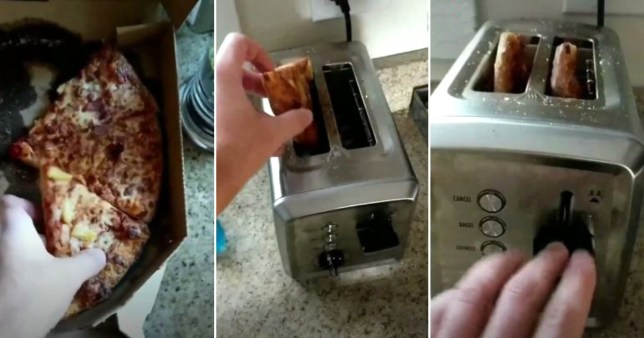 Man reheating pizza in toaster method