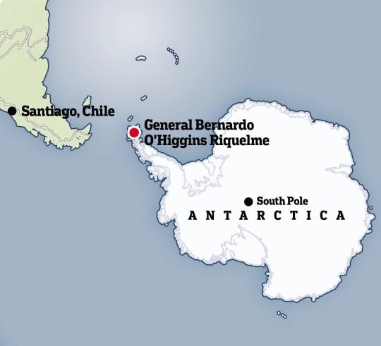 Carte de l'endroit où l'épidémie de l'Antarctique s'est produite