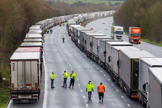 epa08901083 Queues of stationary lorries on the M20 motorway between Ashford and Folkestone in Kent, Britain, 23 December 2020. France closed its border with the UK for 48 hours over concerns about the new coronavirus variant. Lorry drivers must now obtain negative coronavirus tests before they will be allowed to cross by sea and the Port of Dover remains closed to outbound traffic on the morning of 23 December 2020. EPA/VICKIE FLORES