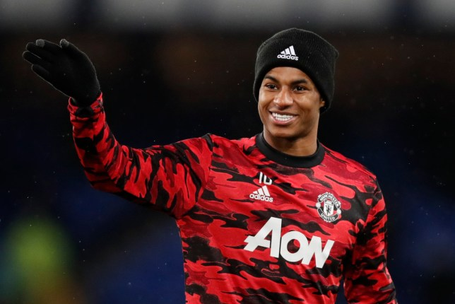 Soccer Football - Carabao Cup - Quarter-Final - Everton v Manchester United - Goodison Park, Liverpool, Britain - December 23, 2020 Manchester United's Marcus Rashford during the warm up before the match Pool via REUTERS/Clive Brunskill EDITORIAL USE ONLY. No use with unauthorized audio, video, data, fixture lists, club/league logos or 'live' services. Online in-match use limited to 75 images, no video emulation. No use in betting, games or single club /league/player publications. Please contact your account representative for further details.