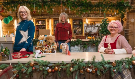 WARNING: Embargoed for publication until 00:00:01 on 05/12/2020 - Programme Name: The Repair Shop at Christmas - TX: n/a - Episode: The Repair Shop at Christmas - Generics (No. Generics) - Picture Shows: **STRICTLY EMBARGOED NOT FOR PUBLICATION BEFORE 00:01 HRS ON SATURDAY 5TH DECEMBER 2020** Julie Tatchell, Suzie Fletcher, Amanda Middleditch - (C) Ricochet - Photographer: Kenny Valaydon