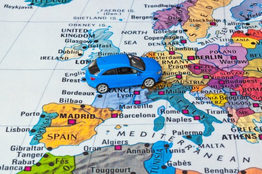 Europe map and car toy