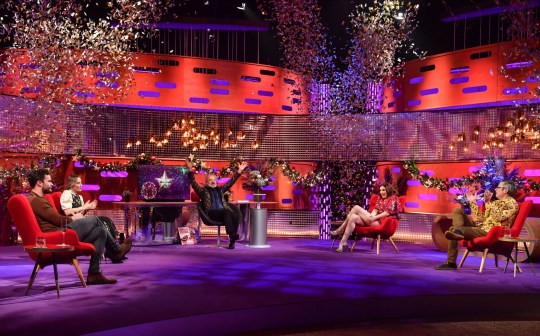 EMBARGOED TO 0001 TUESDAY DECEMBER 29 EDITORIAL USE ONLY (Left to right) Jamie Dornan, Emily Blunt, Graham Norton, Sophie Ellis-Bextor and Hugh Fearnley-Whittingstall during the filming for the Graham Norton Show at BBC Studioworks 6 Television Centre, Wood Lane, London, to be aired on BBC One on 31 December. PA Photo. Issue date: Tuesday December 29, 2020. Photo credit should read: PA Media on behalf of So TV