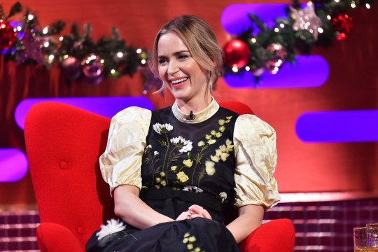 EMBARGOED TO 0001 TUESDAY DECEMBER 29 EDITORIAL USE ONLY Emily Blunt during the filming for the Graham Norton Show at BBC Studioworks 6 Television Centre, Wood Lane, London, to be aired on BBC One on 31 December. PA Photo. Issue date: Tuesday December 29, 2020. Photo credit should read: PA Media on behalf of So TV